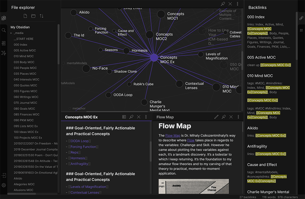 Obsidian, a networked thought tool based on pure text.