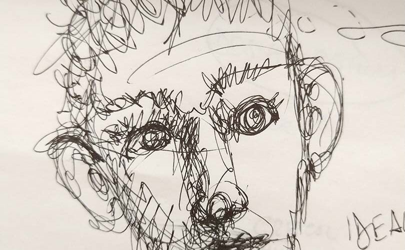 A human face, draft drawing by Massimo Curatella